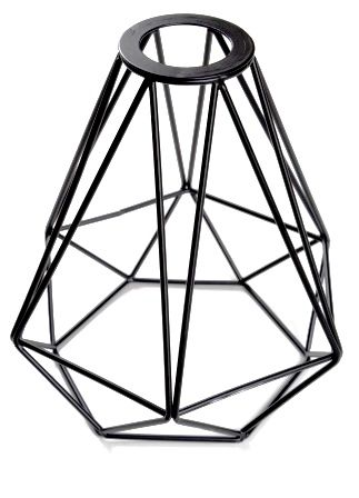 Diamond Lamp Cage Black Metal 220mm Diameter With 40mm Hole