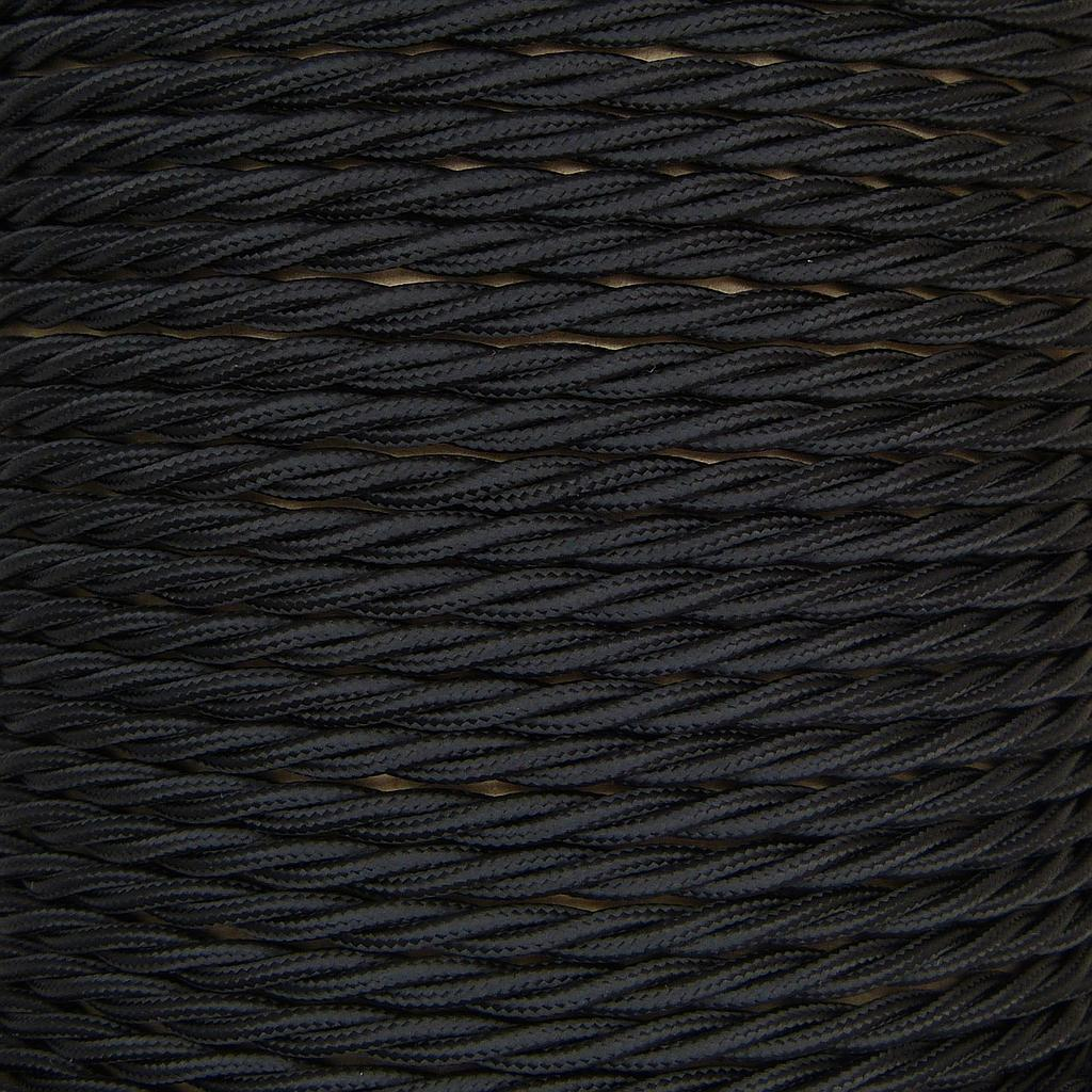 Twisted Braided Pendant Flex 2 core 0.75mm Black, mtr