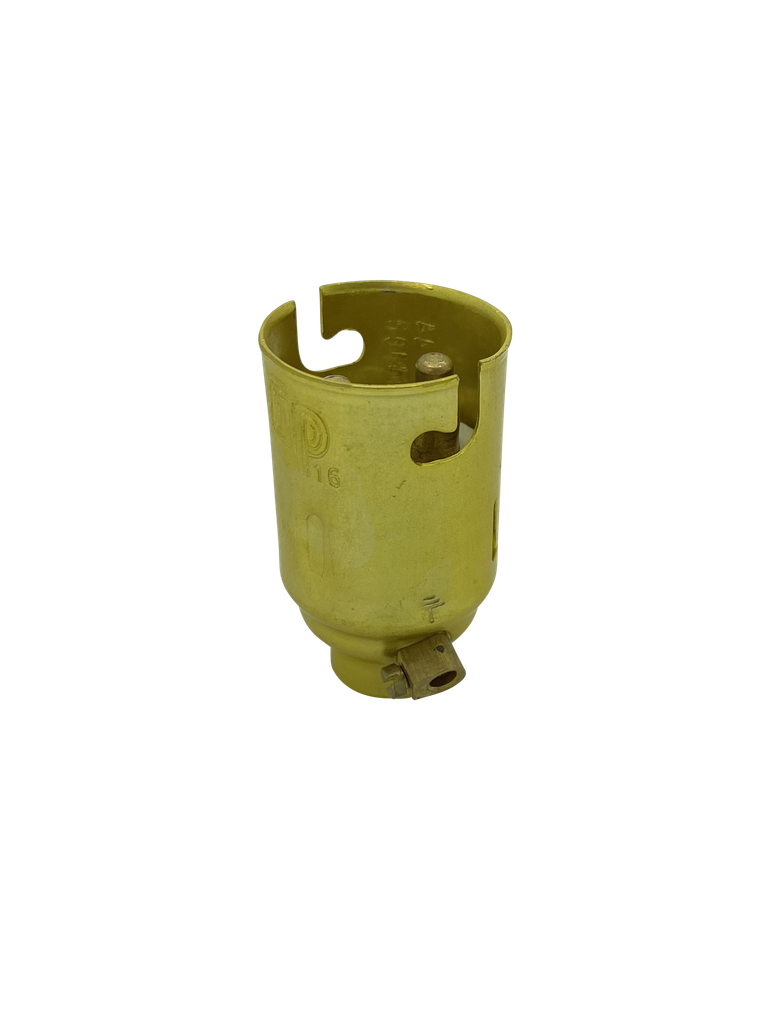 BC Candle 10mm Lampholder Brassed Metal + Earth Terminal