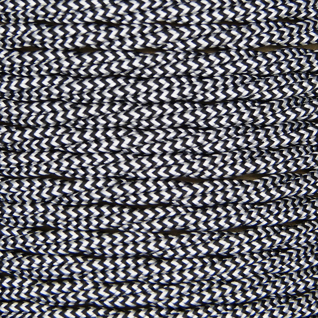 [01791] Patterned 3 Core Twisted Braided Flex 0.5mm Black/White Zig Zag, mtr