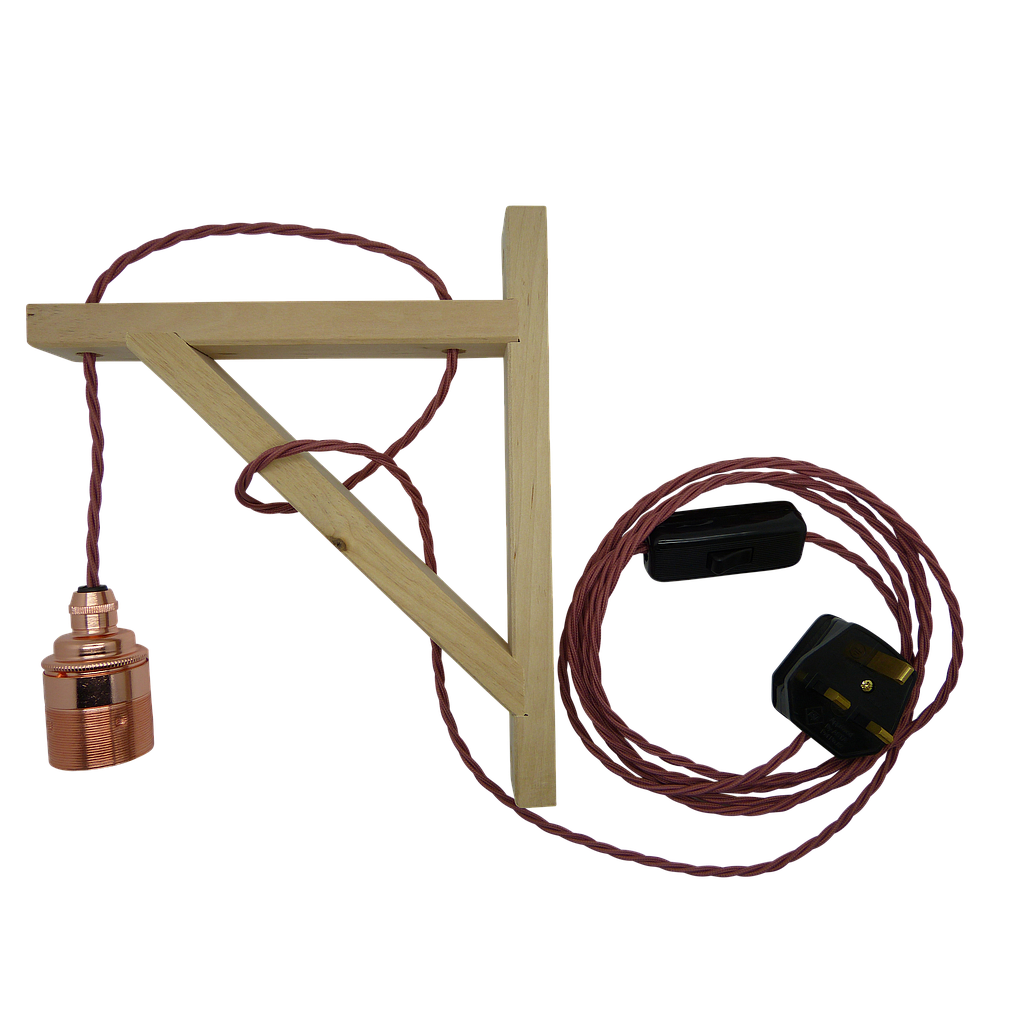 [09828] PERRY Pendant To Plug Wall Bracket Set 3mtr.  Birch Bracket, Copper L/h, Twisted Rose Pink Flex