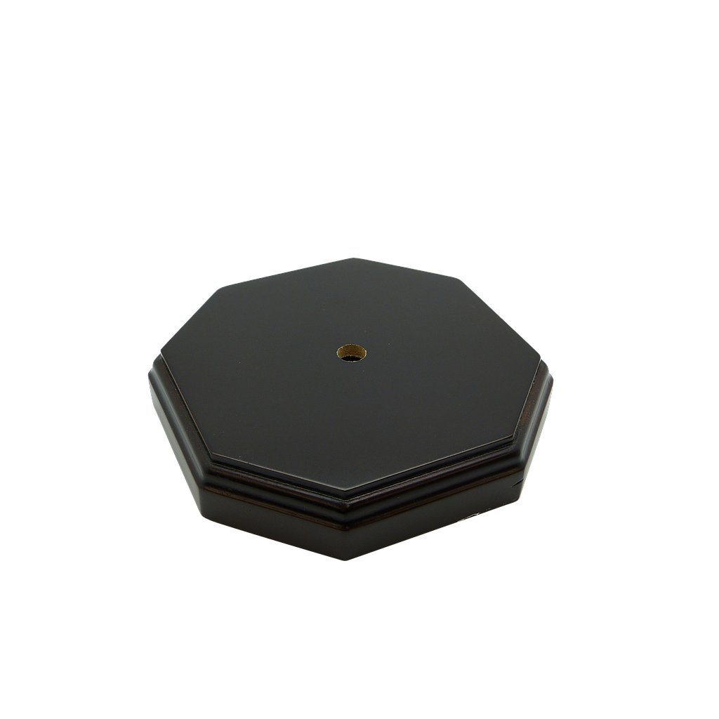 [06583] Octagonal Dark Stained Wooden Lamp Base (10mm Centre Hole, 6mm Side Hole) Diameter - 135mm, Height - 25mm