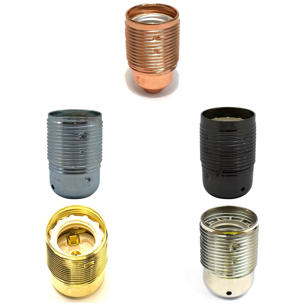 [E27 Lampholder] Plated Lampholder ES / E27 10mm Threaded Entry, Shade Compatible (Lock Ring Not Included)