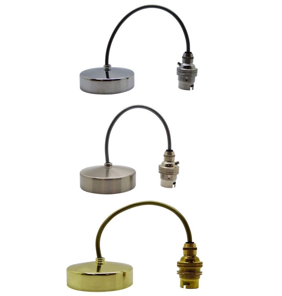 "[BC Pendant] Metal & PVC Pendant BC / B22 88mm Diameter, 9"" Height (Adjustable), Shade Compatible (Lock Ring Included)"